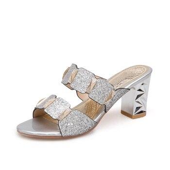 29184ff7f5 Sandalias de boda de fiesta de diamantes de imitación a la moda para mujer  2018 nuevos tacones cuadrados de verano con punta abierta para mujer de  alta ...