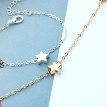 HUMANO FINO 2019 Elegant Fashion Tiny Pentagram Star Chain Bracelets 2 Colors For Women Gold Silver Plated Femme Jewelry Gift