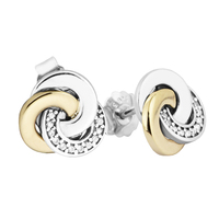 Authentic 925 Sterling Silver Earring Interlinked Circles Clear CZ Stud Earrings For Women Wedding Gift Fine Europe Jewelry