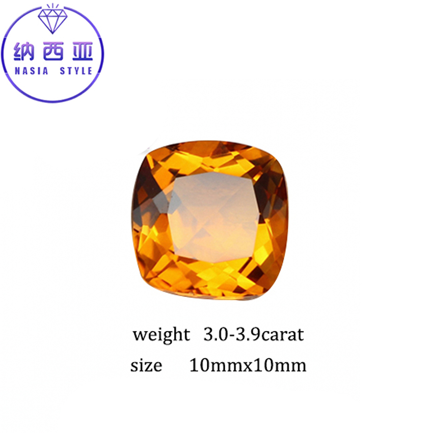 3.0-3.9 Carat 10mm Natural Yellow Citrine Crystal Section Brazil Square Beads Loose stone Fit For DIY Fine Jewelry Making