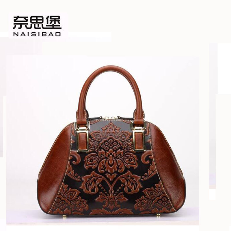 2016 New women genuine leather bag chinese style fashion embossing quality luxury women leather shoulder messenger cowhide bag