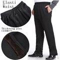 В пожилом возрасте высокой талией теплые брюки Мужчины плюс бархат утолщение досуг брюки зима старая высокая талия мужской брюки