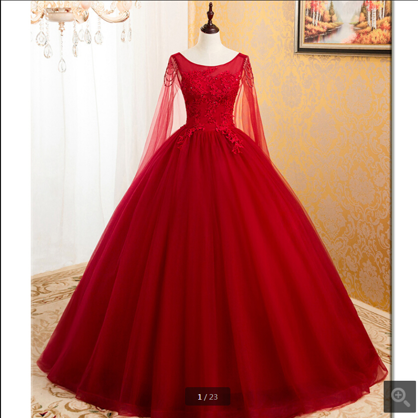 Free shipping wine lace appliques ball gown princess   prom     dress   scoop neckline with cape modest beaded pearls   prom   gowns on sale