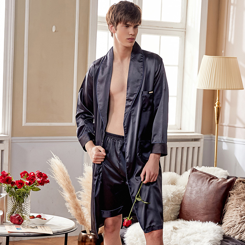 Xifenni Silk Robe Sets Male High Quality Faux Silk Sleepwear Man Solid Color Silky Bathrobes Shorts Sets 2-Piece X28240