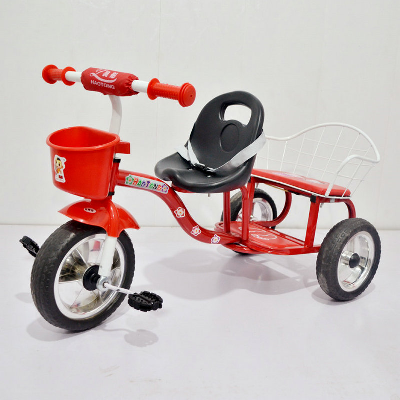 Factory Outlet Twins Tricycle, 3 wheels Baby Cart with back seat, high carbon steel frame Baby Walker, Red Twins Tricycle child drift trike 4 wheels walker kids ride on toys for 1 3 years tricycle outdoor driver