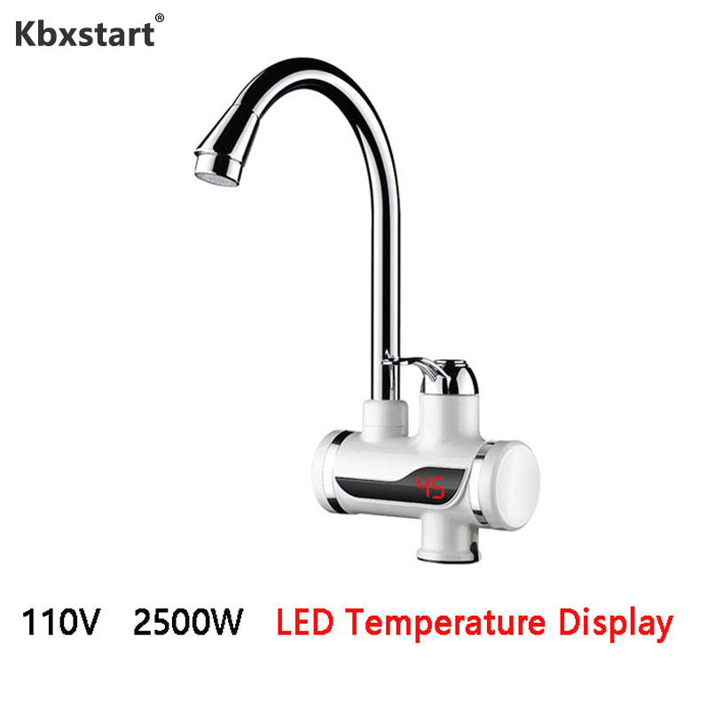 110V US Plug Tankless Electric Water Heater Faucet Kitchen Heating Dispenser Tap With LED Display Under Inflowing Hot Water