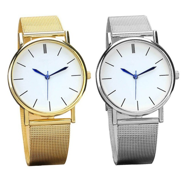 Fashion Quartz Watch Women Mesh Stainless Steel Gold Silver Watches Relogio Femi