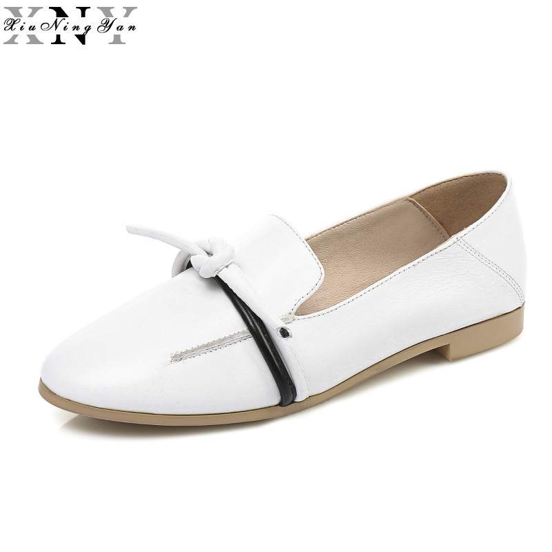 XIUNINGYAN Women's Flats 2017 Brand Genuine Leather Dress Shoes Women Oxfords Office Ladies Handmade Big Size Loafers Shoes xiuningyan women leather brogue shoes spring autumn brand pointed toe women s flats fashion ladies elegant loafers soft oxfords
