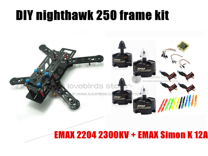 DIY mini drone FPV nighthawk 250 race quadcopter pure carbon frame kit + EMAX 2204 2300KV motor + EMAX 12A ESC + CC3D +6045 prop diy fpv alfa lsx5 230mm pure carbon frame kit for mini drone f3 acro dx2205 2300kv motor bl20a esc 5045 propeller