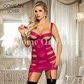 RE80386 Comeonlover 2017 Rosa rojo hueco vestido plus tamaño babydoll de encaje lencería sexy transparente nuisette lencería sexy