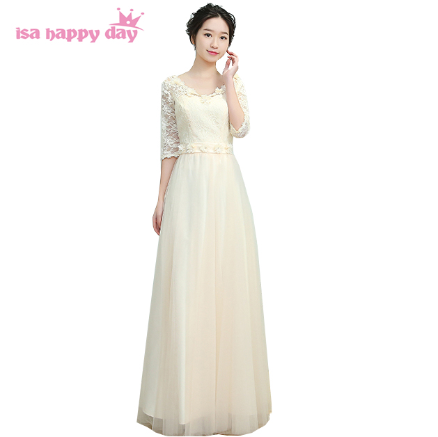 cheap champagne colored long lace top tulle bridesmaid elegant ...
