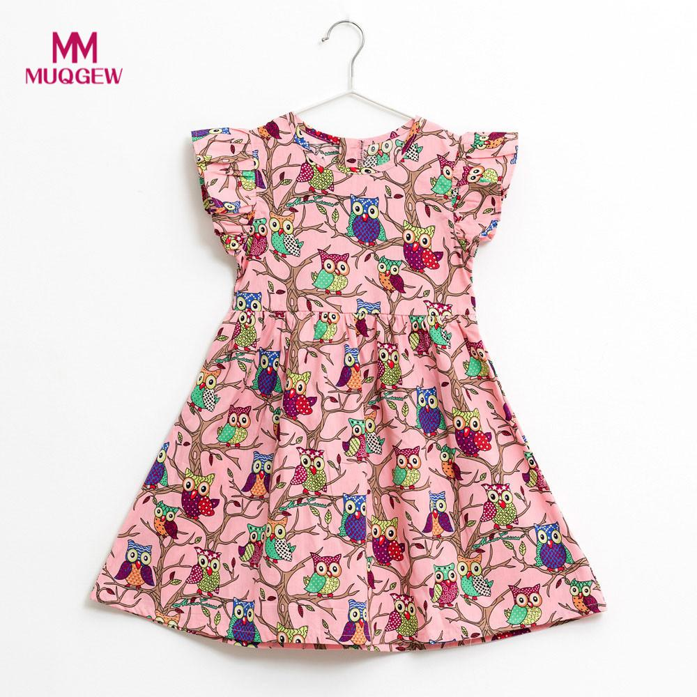 Summer kids dresses for girls Kids Infant Toddle Floral Cartoon Sleeveless Clothes Princess Dress robe pour fille meninas