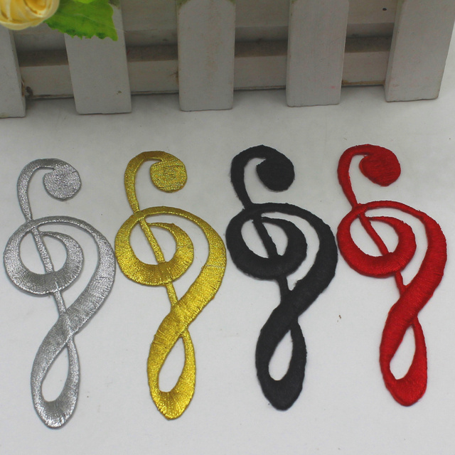 Yacklasi Music Note Appliqued Black Musical Symbols Gold Embroidery