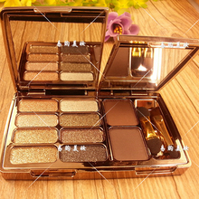 Perfect 8 colors Diamond Bright Colorful Makeup Eye Shadow Super Make Up Set Flash Glitter Eyeshadow Palette With Brush&Mirror