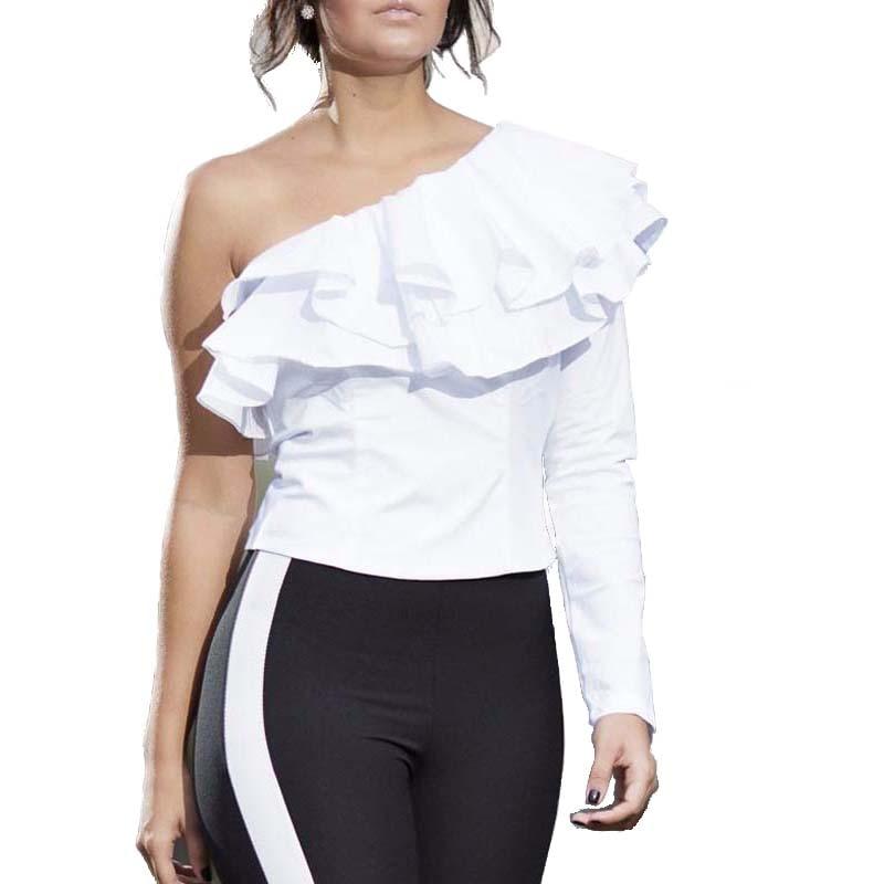 Un hombro volantes camisa de la blusa de las mujeres tops  otoño Ocasional camis