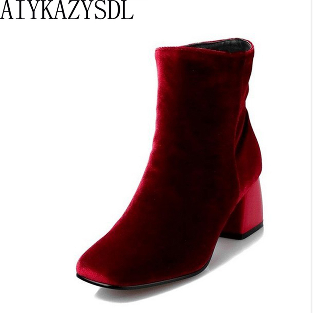 5b88be66cef US $39.99 |AIYKAZYSDL Plus Size 35 43 Burgundy Fashion Velvet Ankle Boots  Women Boots Block Chunky Med Heel Chelsea Boots Winter Warm Shoes-in Ankle  ...