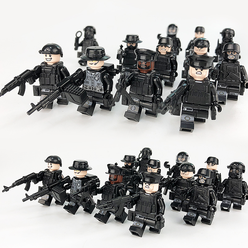 12PCS Compatible Legoed City Police Swat Team Mini Army
