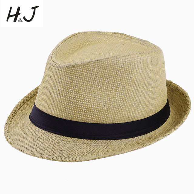 92aaf77123aab Summer Style Child Sun hat Beach Sunhat Fedora hat Trilby Straw panama Hat  boy girl Gangster Cap Fit For Kids Children Women Men