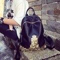 Estação europeia moda studs couro lichia mochila escola de design de estilo da marca mulheres bolsa de ombro simples saco ocasional N01