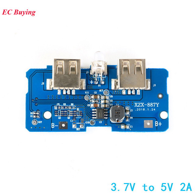 3 7v To 5v 2a Dual Micro Usb Boost Step Up Power Supply Module Power