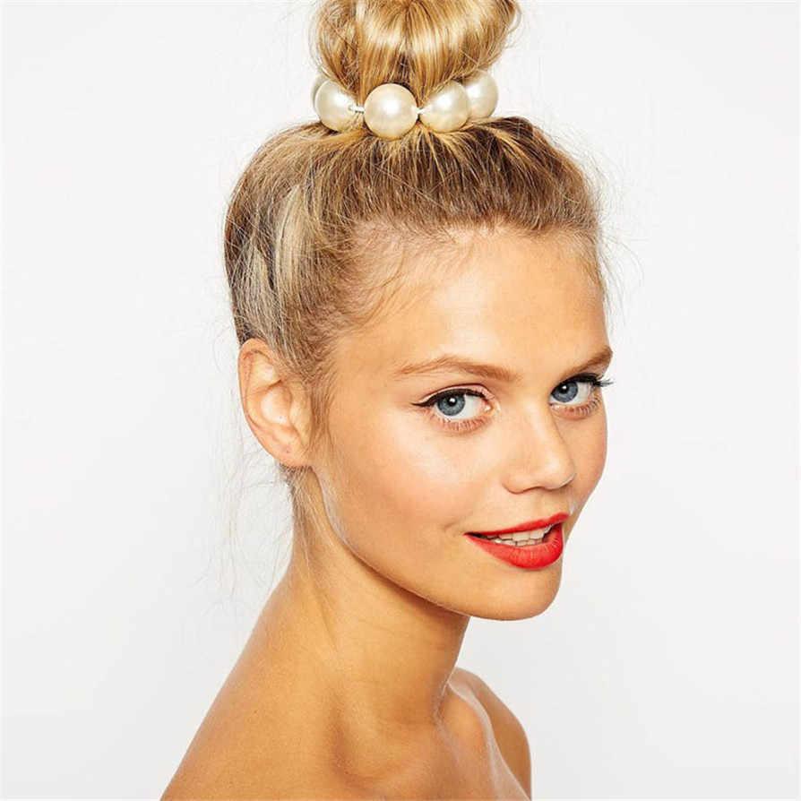 1 צבע 1 PC החדש חם נשים 15mm פניני חרוז כתר למתוח ראש שיער שמלת שרוול להקת כלה גבוהה ירידה באיכות ShippingJC28