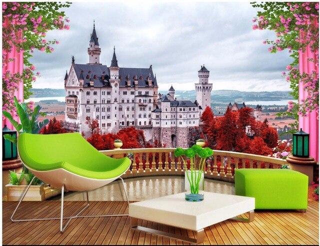 Custom Mural Photo 3d Room Wallpaper Flower Balcony Castle Tv