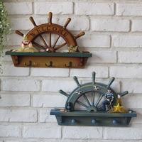 Wood Half Rudder Mediterranean Style Wall Hanging Home Bar Nautical Decoration Handmade Crafts Furnishing Articles