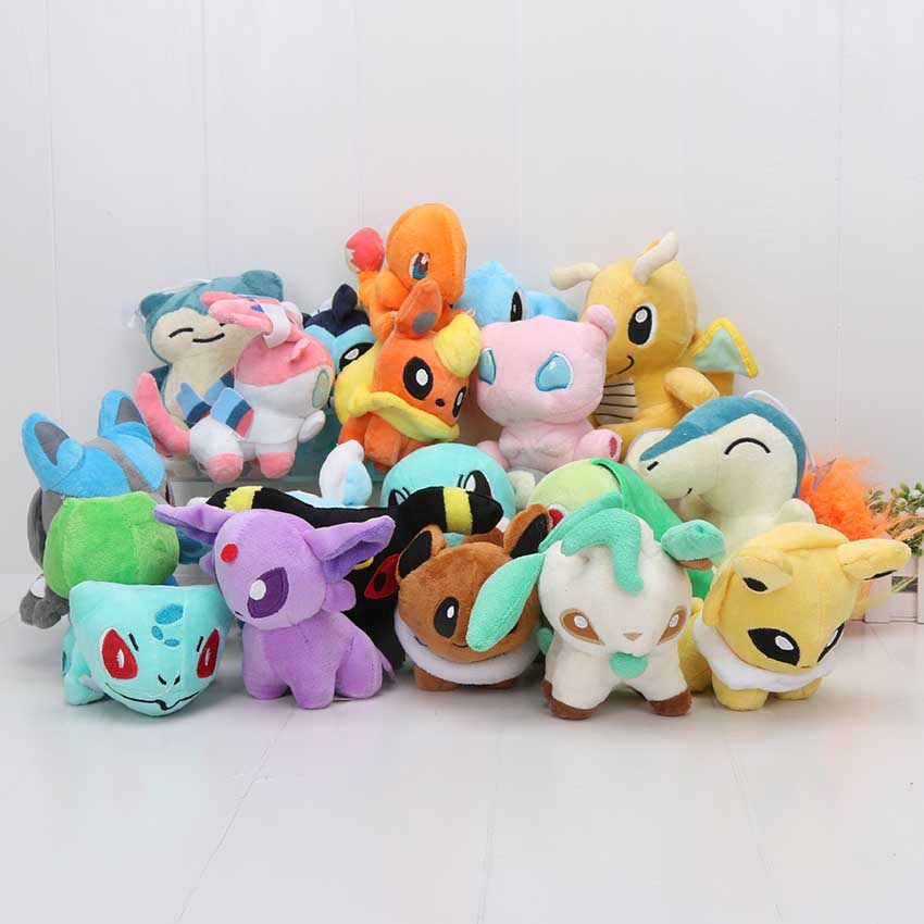 20pcs set anime stuffed animal doll 20 Different style Eevee Cyndaquil Squirtle Charmander Plush Character Soft
