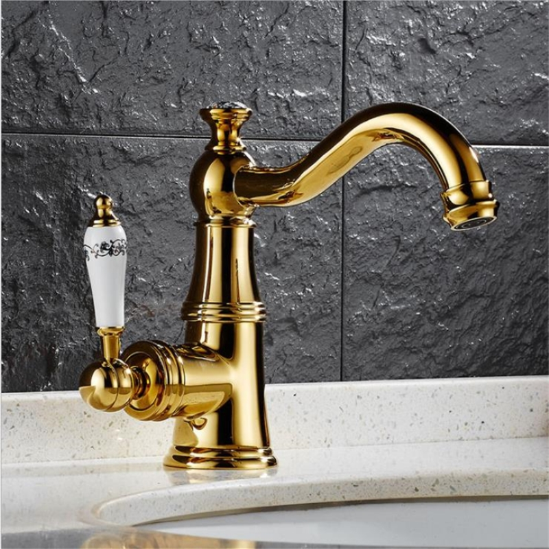 Brass Finished Gold Basin Faucets Single Handle Basin Hot and Cold Mixer Bathroom Tap Sink  Brass Finished Gold Basin Faucets Single Handle Basin Hot and Cold Mixer Bathroom Tap Sink