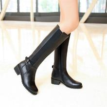 Free shipping Women's Ladies Real leather knee Boots Martin boots Heels Side Zipper Black Winter boots size34~45 Big yards