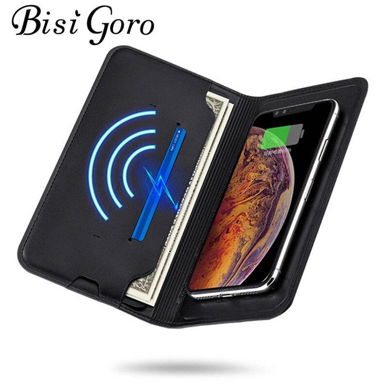BISI GORO 2019 Donne Degli Uomini di Smart Wallet Wireless di Ricarica Del Raccoglitore Adattarsi Per Il Ipone E Android Capacità 8000 mAh Raccoglitore Lungo regalo