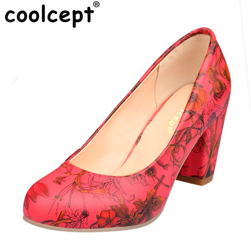 Coolcept Size 31-43 News Women High Heel Shoes Ladies Print Flower Heels Pumps Wedding Party Ladies Shoes Women Heeled Footwear size 33 42 women real genuine patent leather high heel shoes brand sexy ladies heels wedding pumps heeled footwear shoes r08636