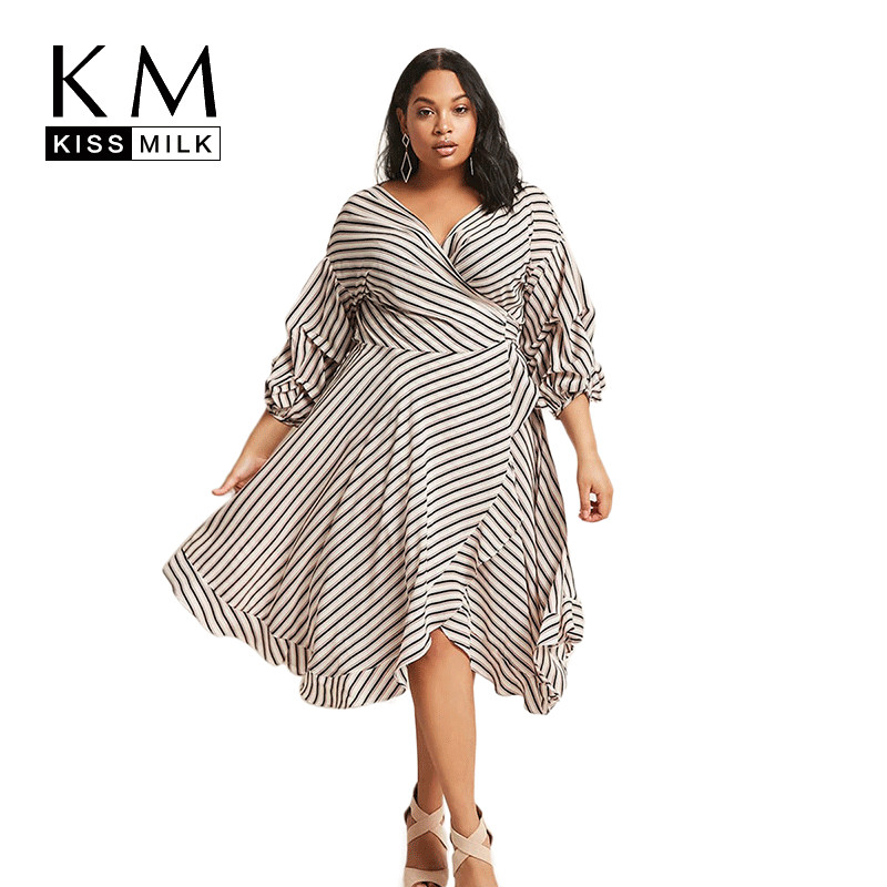 Kissmilk Plus Size 2018 New Fashion Women Summer Striped Lantern Sleeve V Neck Ruffles Wrap Mid Calf  A Line Dress