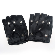 KLV модный дизайн heatrical панк хип-хоп PU Черные кожаные перчатки с полупальцами квадратный гвоздь z0913