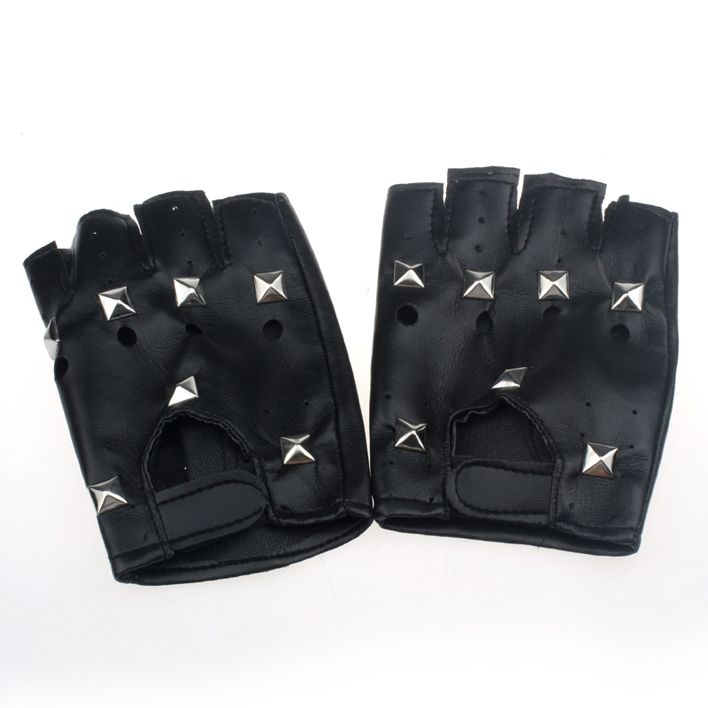 Disciplined Klv New Fashion Design Heatrical Punk Hip-hop Pu Black Half-finger Leather Gloves Square Nail Z0913 Providing Amenities For The People; Making Life Easier For The Population Men's Gloves