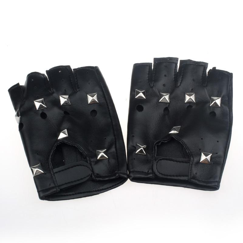 KLV New Fashion Design Heatrical Punk Hip-hop PU Black Half-finger Leather Gloves Square Nail  Z0913