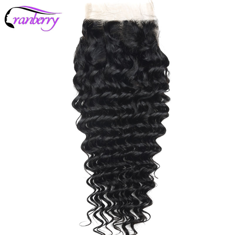 Cranberry Hair Deep Wave Hair Closure 100% Remy Human Hair Swiss Lace Closure Brazilian Human Hair Closure Free Shipping(China)