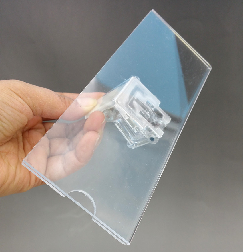 Clear Acrylic 185x66mm Plastic Sign Paper Display Promotion Card Label Holder Stands Clips For Wood Shelf 500pcs High Quality