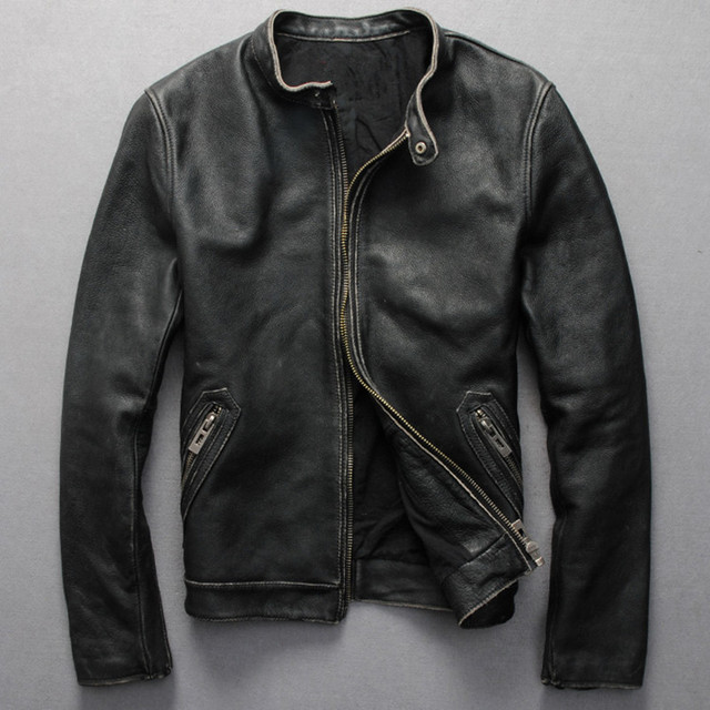 Vintage genuine leather jacket men black cowskin short simple ...