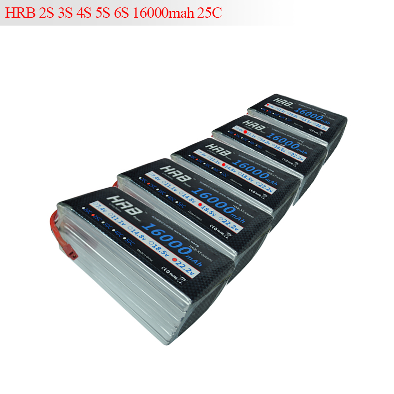 HRB Drone Lipo 16000MAH Battery 2S 3S 4S 5S 6S 7.4V 11.1V 14.8V 18.5V 22.2V 25C Max 50C For Helicopter Plant Protection Machine zdf 2pcs lot quality assurance 6s 16000mah 22 2v 30c max 60c lipo battery for aircraft plant protection machine