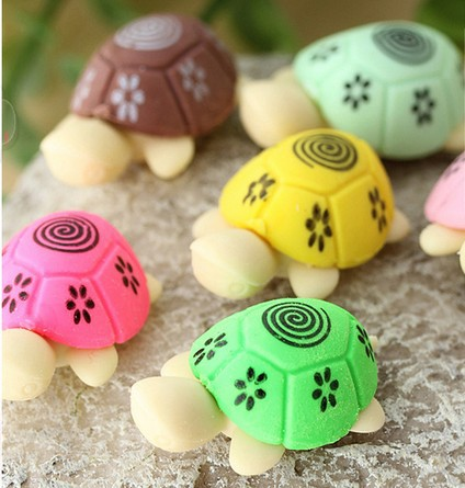 60pcs/lot Cute Cartoon Turtle Design Rubber Eraser Kawaii Eraser For Pencil Nice Gift Prize Korea Style Stationery Wholesale