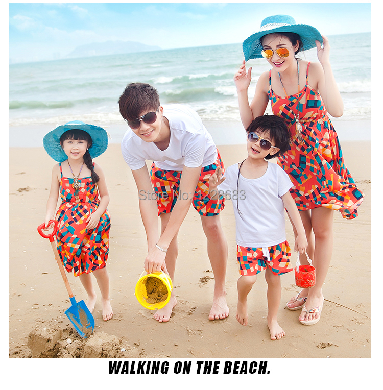 New Summer Plaid Bohemia Matching Mother Daughter Clothes Father And Son Suits Mae E Filha Family Look Girl And Mother