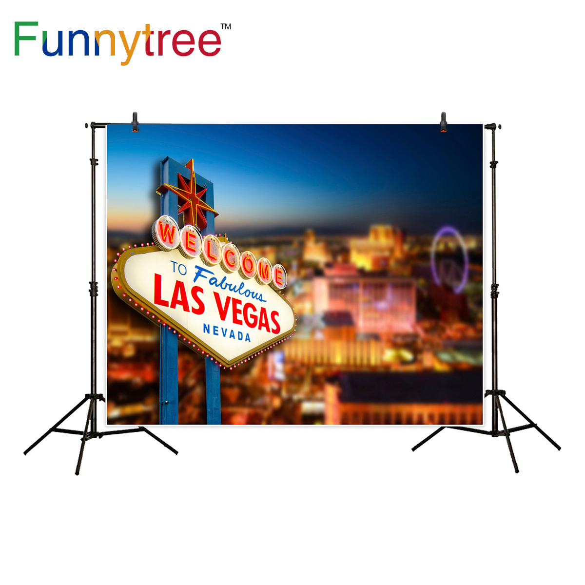 Funnytree Las Vegas night background for photo studio casino party <font><b>nevada</b></font> <font><b>city</b></font> bokeh backdrop photography photobooth photo prop