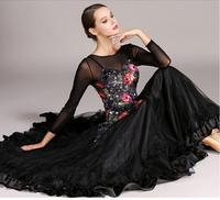 4 colors Black standard women's dances dresses for ballroom dancing waltz ballroom standard dress ballroom dress tango flamenco