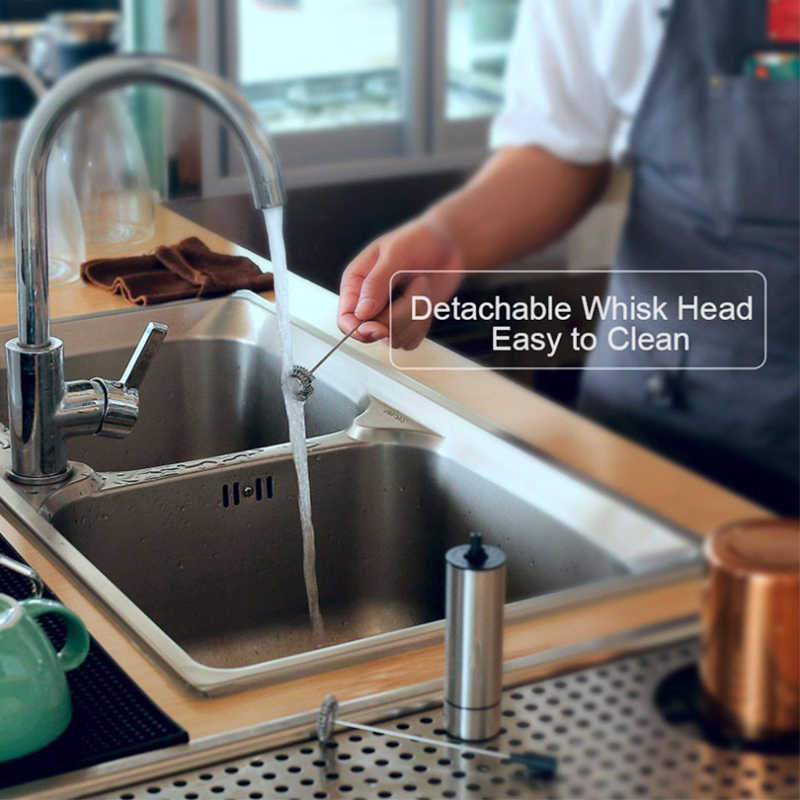 REELANX vaporizador de leche eléctrico 2 batidor de leche de mano mezclador de cocina para café Cappuccino batidor de huevos bebidas licuadora con soporte