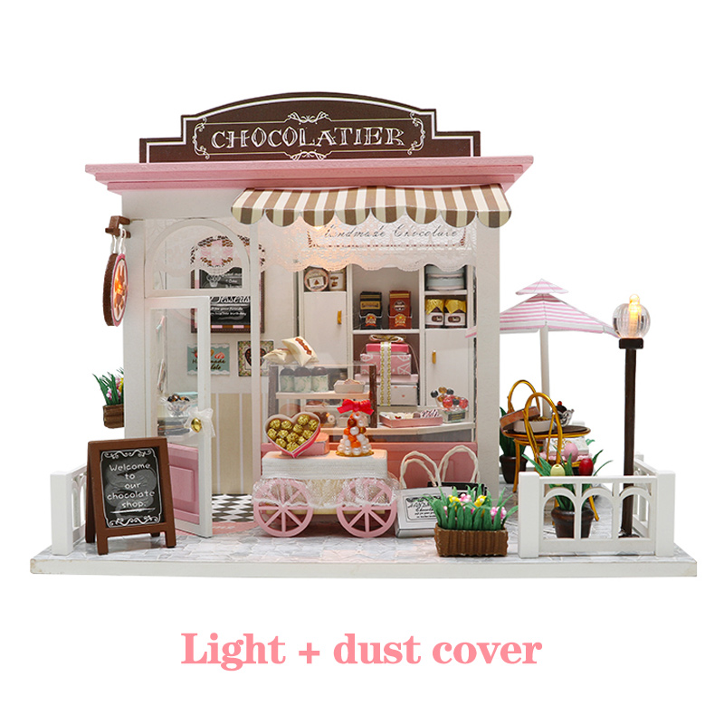 Doll House Miniature DIY Dollhouse With Furnitures Wooden Sweet Chocolate House Waiting Time Toys For Children Birthday Gift