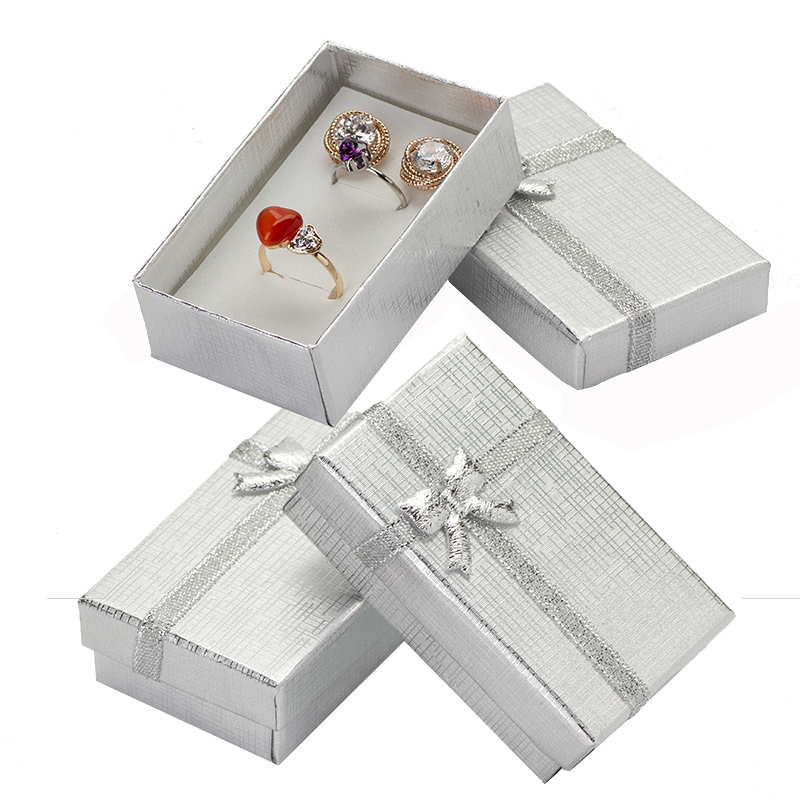 32pcs Cardboard Jewelry Boxes 1.9''x3.1'' Silver Gift Boxes For Pendent Necklace Earrings Ring Box Packaging With White Sponge