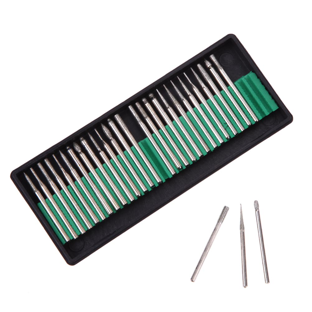 30pcs Diamond Burr Glass Drill Bits for Engraving Rotary Tool Set 3mm Shank for glass marble rock jewelry Power Tools portable 30pcs diamond burr bits drill for engraving etching dremel rotary tool set power tools 92x8