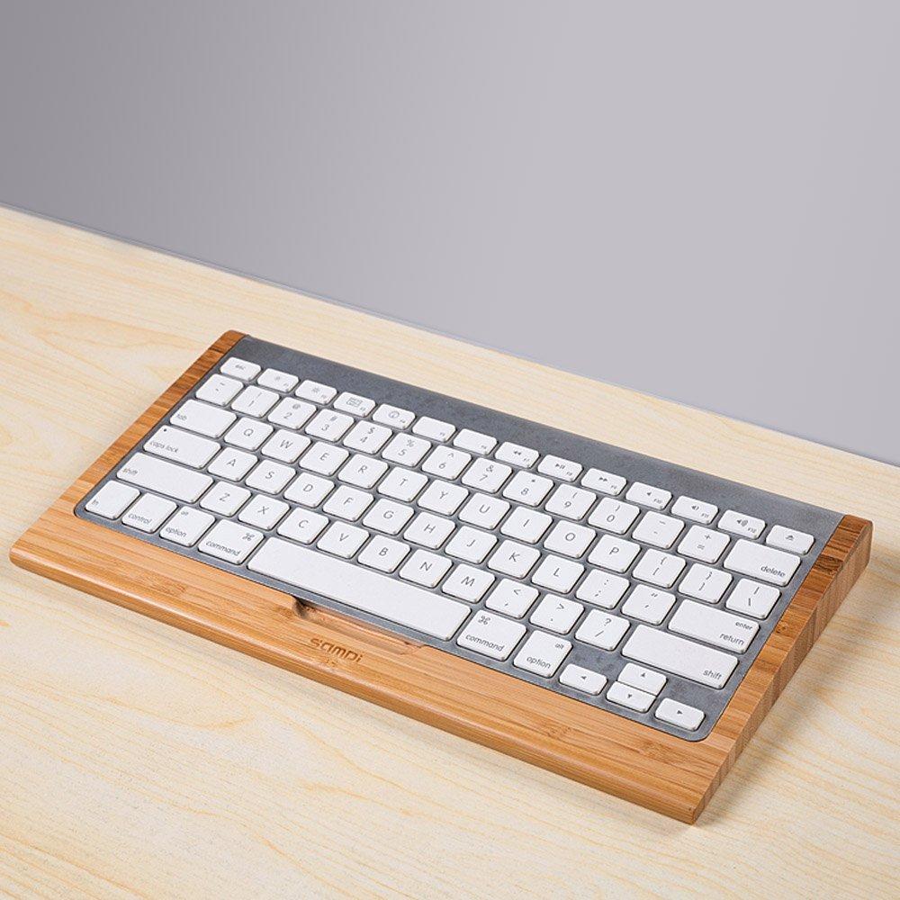SAMDI Bamboo Craft for Apple Bluetooth Wireless Keyboard Stand Dock Holder For iMac, Mac Pro, Desktop Computer