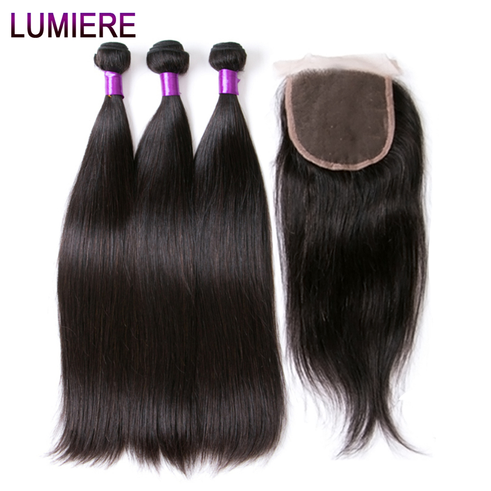 Lumiere Hair Straight Human Hair Bundles With Closure Indian Hair Extensions With Lace Closure Non Remy